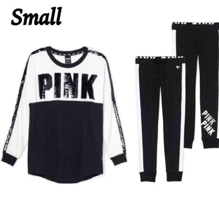 "Victoria's Secret PINK Bling Varsity Crew / Pant Set in Black & White ""SMALL"" #VictoriasSecret #VarsityBlingCrewPants"