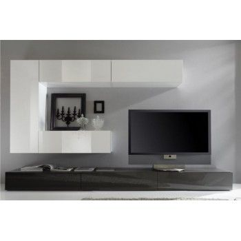 Meuble tv mural laqu prune et blanc g noa maison pinterest tv furnitur - Meuble tv mural blanc laque ...
