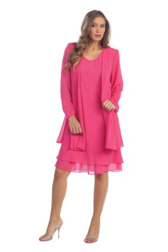 e50f284994f11 Long Sleeves Jacket Plus Sizes Mob Mother of Bride Dress Knee Length Layers  Fun