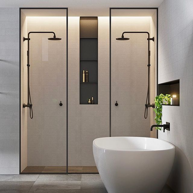Double shower bathrrom with white modern bathtub for Badezimmer inspiration modern