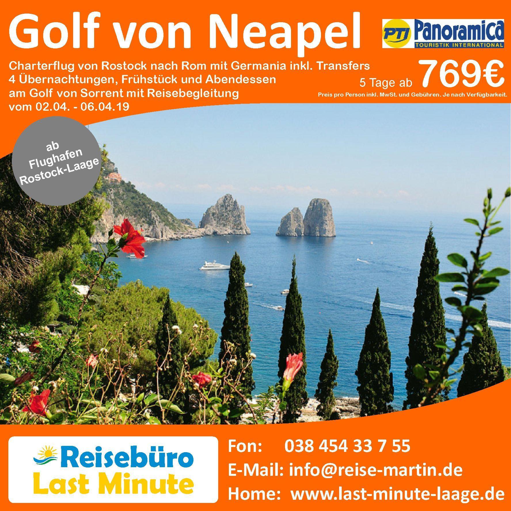 Golf von Neapel ab Flughafen RostockLaage. Jetzt günstig