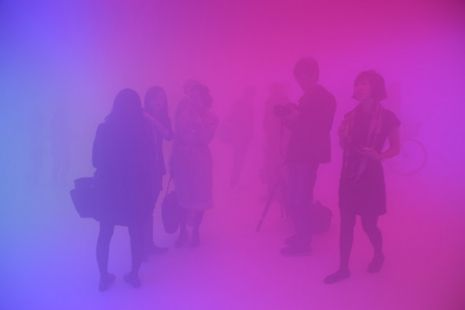 'Feelings are Facts' installation created byOlafur Eliasson in Beijing'sUCCA in collaboration with Chinese architectMa Yangson.  The installation's visitors are invited to enter a space filled with fog, lit by fluorescent light of different colours that blend and shift as they move around the exhibit.