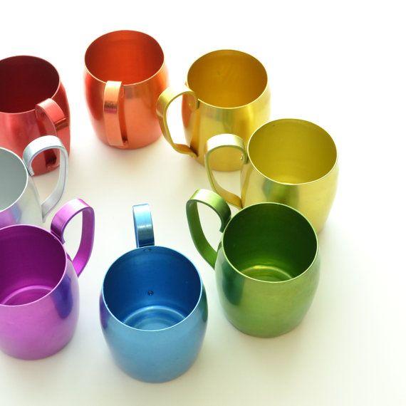 Rainbow Collection - Retro Mule Mugs - Set of 8. $58.00, via Etsy.