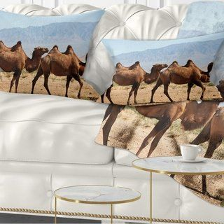 Designart 'Huge Camels on Tomb Ruins' African Throw Pillow (Rectangle - 12 in. x 20 in. - Medium), Brown, DESIGN ART(Polyester, Animal)