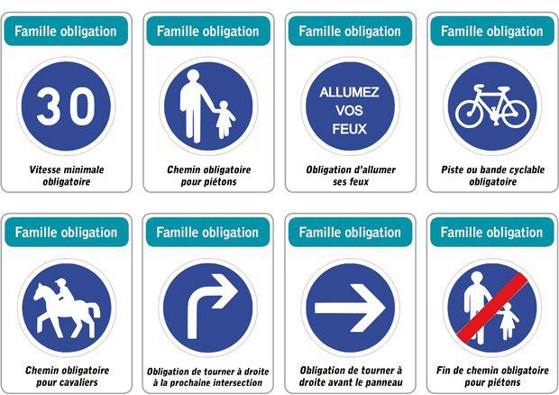 jeu des 5 familles de panneaux de signalisation routi re famille obligation panneau de. Black Bedroom Furniture Sets. Home Design Ideas