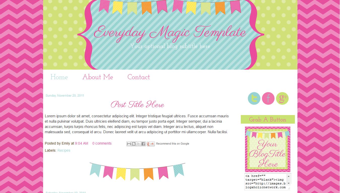 everyday magic blog template blog design inspiration pinterest
