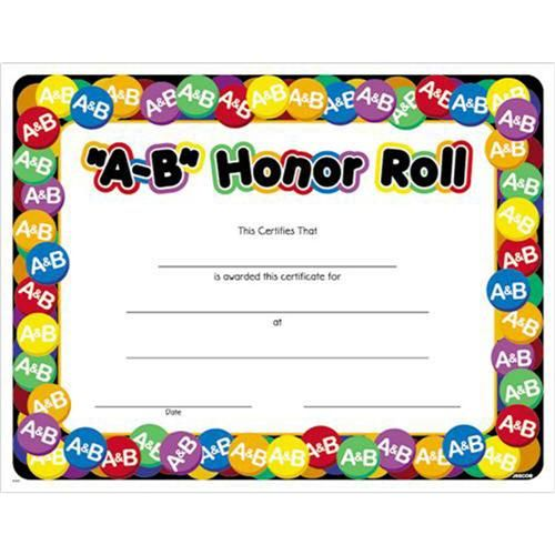 picture relating to Free Printable Honor Roll Certificates called A-B Honor Roll Award Certification, 8 1/2 x 11 A-B Honor Roll