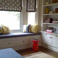 rectangular bay window seat family room - Google Search