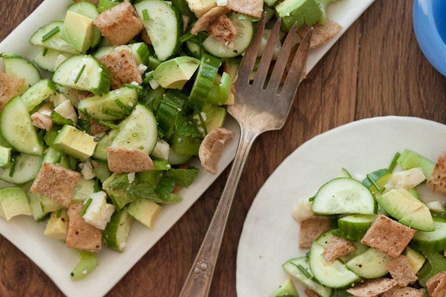 Cucumber, Herb and Pita Salad