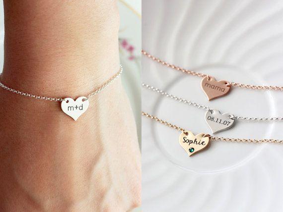 e1cdcdf23e647 Engraved Heart Bracelet - Keepsake Gold Silver Rose Gold Custom ...