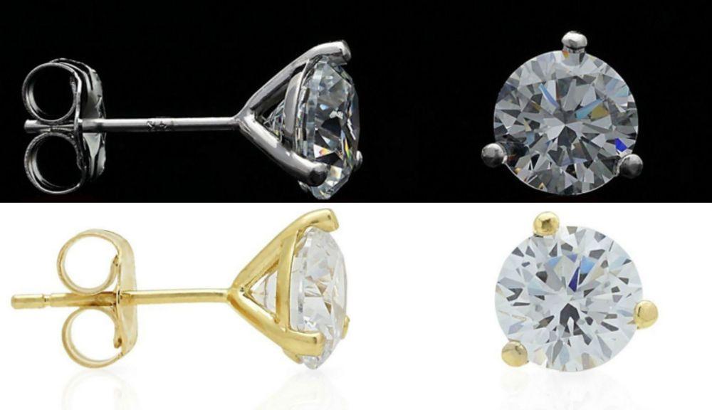 2 pairs 2Ct Created Diamond 14K Gold Martini Set 6mm Pushback Stud Earrings #Unbranded #Stud