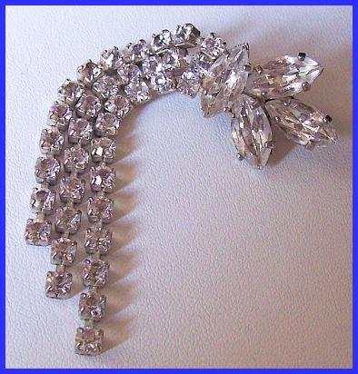 Rhinestone Waterfall Brooch Pin w Silver Metal Sparkly Vintage Art Deco Jewelry