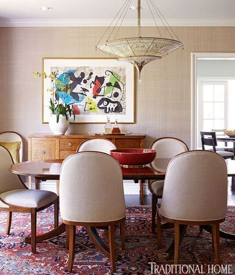 To Provide An Ropriate Setting For Joan Miró S Surrealist Painting In This California Dining Room She Chose A Red And Blue Traditional Oriental Rug