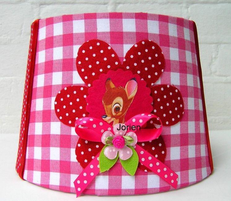 kinderlamp-wandlamp-staandelamp-bambi bloem fuschia-rood - � 32,95