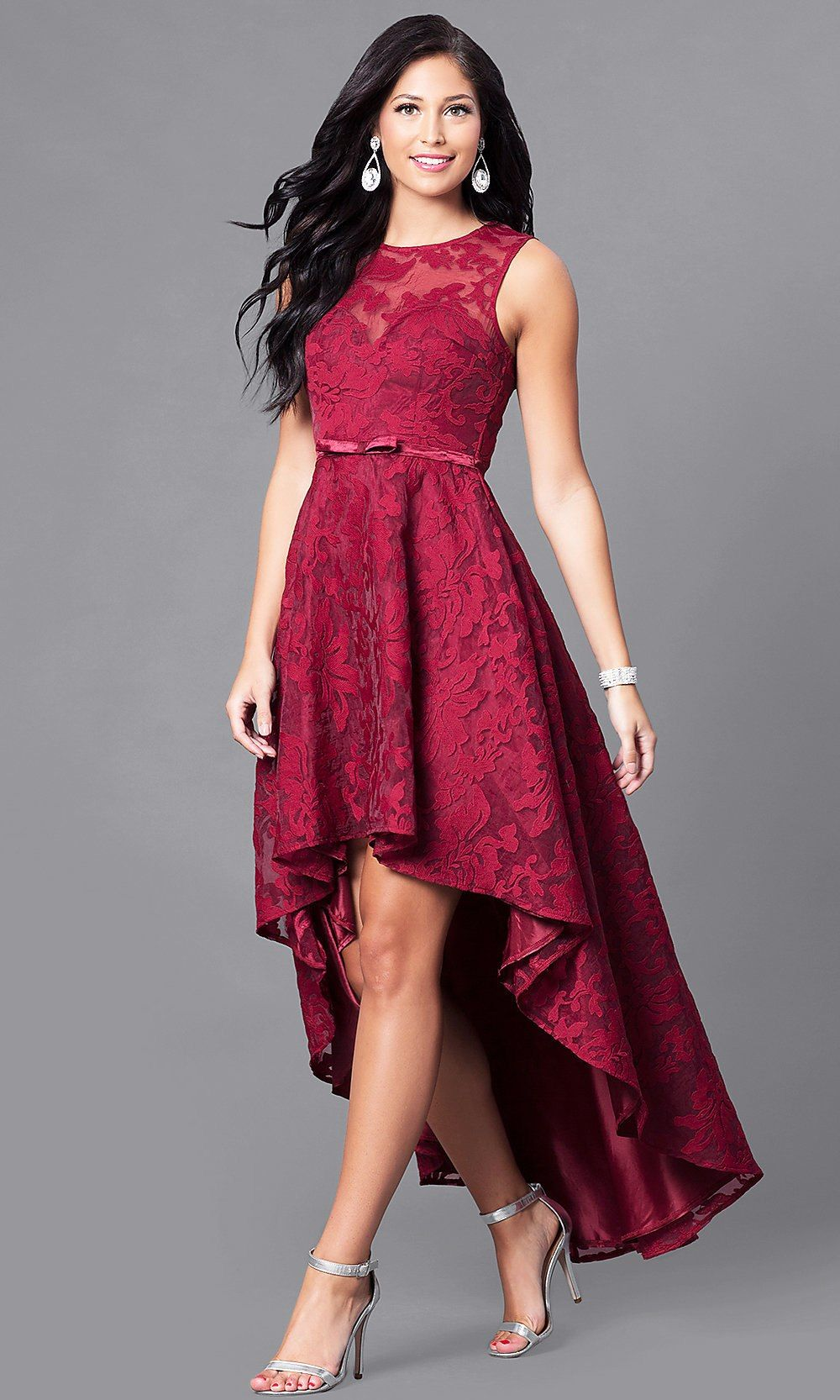 74b9cb424a Lace High-Low Sleeveless Semi-Formal Party Dress