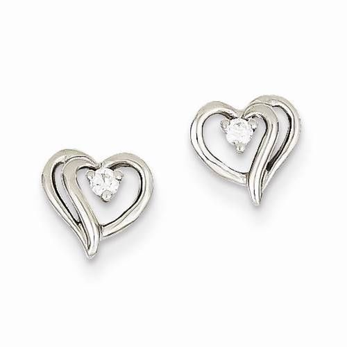 New 14k White Gold Heart Shape Earrings With Round Aa