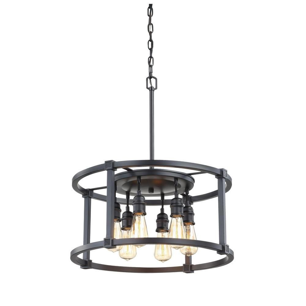 Fifth And Main Lighting 6 Light Aged Bronze Dinette Pendant Hd 1265 The Home Depot Glass Light Fixtures Antique Lighting Bronze Lighting