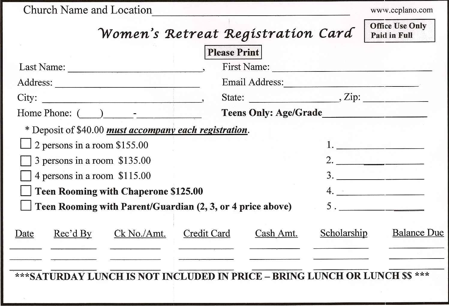 Retreat Registration Form Sample  Customer Registration Form Sample