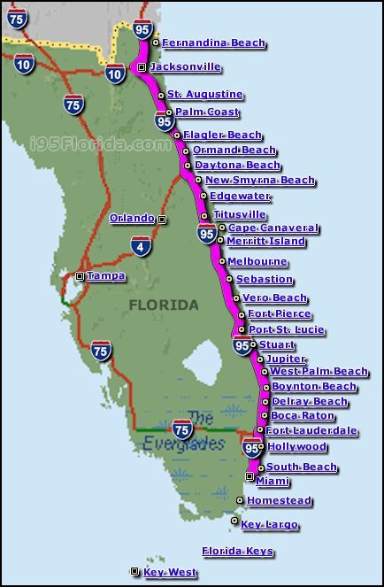 East Coast Beaches Seeing Florida Pinterest East Coast - Map of eastern florida