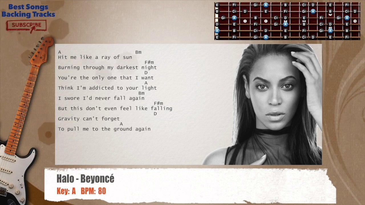 Halo Beyonc Guitar Backing Track With Chords And Lyrics Backing