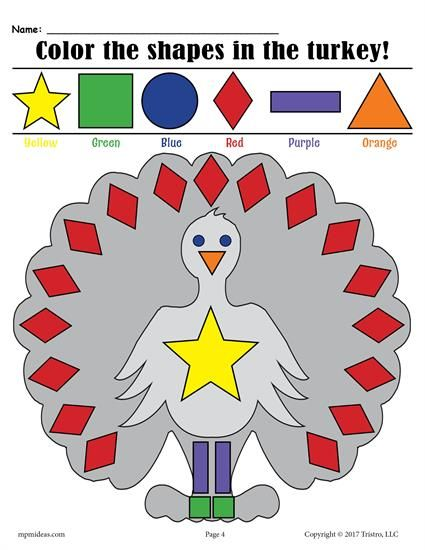 FREE Printable Thanksgiving Themed Turkey Shapes Coloring Pages ...