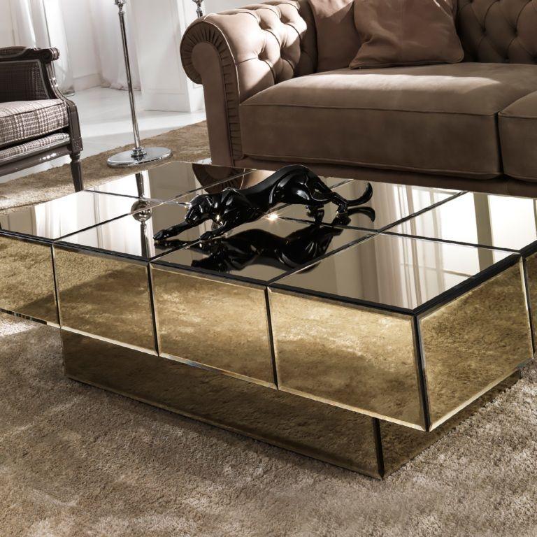 Italian Designer Bronze Glass Storage Coffee Table Coffee Table Centre Table Living Room Center Table Living Room Bronze glass coffee table
