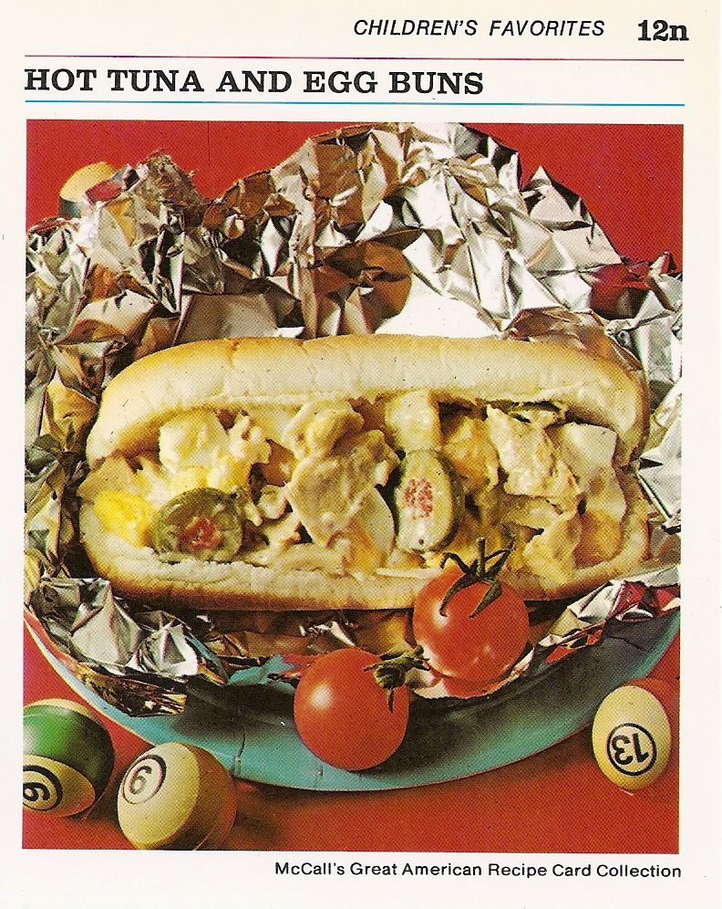 """""""Children's Favorites"""" Hot Tuna, Egg and Olive stuffed hotdog bun.  LOL I DON'T KNOW ANY KID THAT WOULD EAT THIS!"""