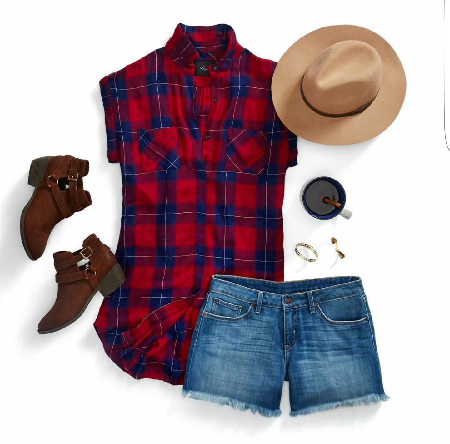 Flannel shirt with shorts  Love the shoes and short sleeved plaid shirt  Stitch Fix