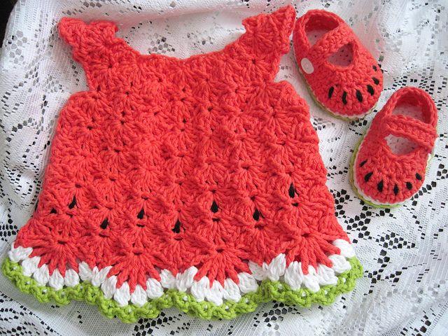 Watermelon Baby Dress Amp Shoes Crochet For Baby Corona