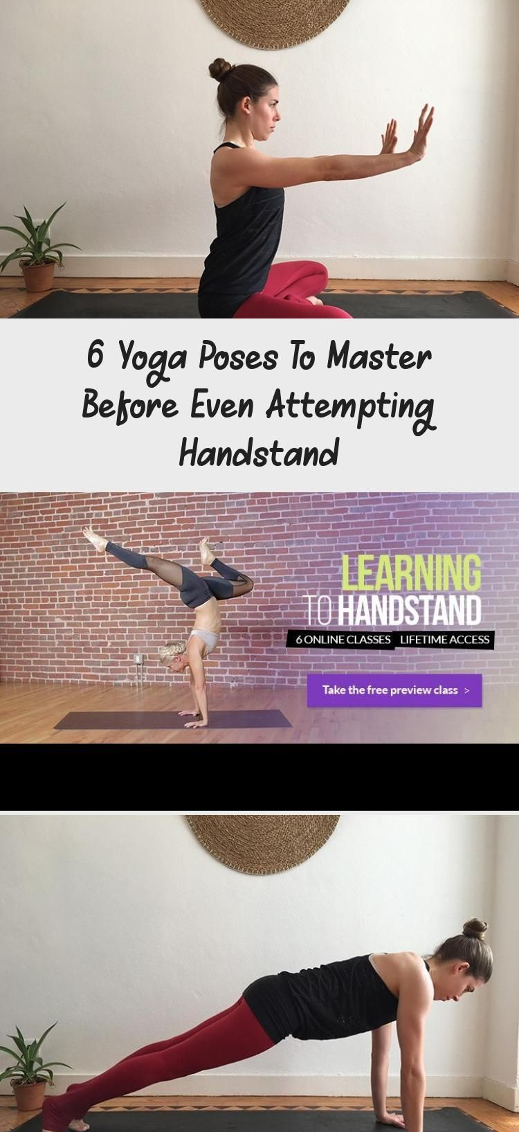 6 Yoga Poses to Master Before Even Attempting Handstand #workout #yoga #fitness #YogaDesign #YogaArt...