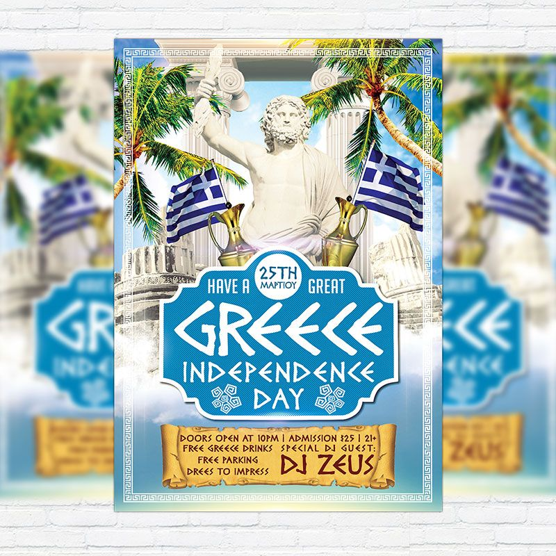 Greece Independence Day  Premium Flyer Template  Facebook Cover