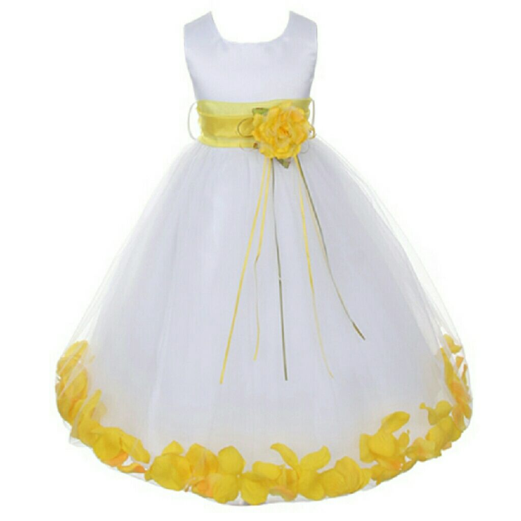 White Yellow Satin Bodice Flower Petals Dress Satin And Products