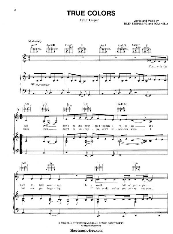 True Colors Sheet Music Cyndi Lauper Partituras De Piano