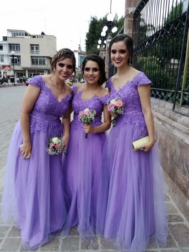 Damas de Honor Tul bordado Lila ramoo | Bridesmaid Dresses | Pinterest