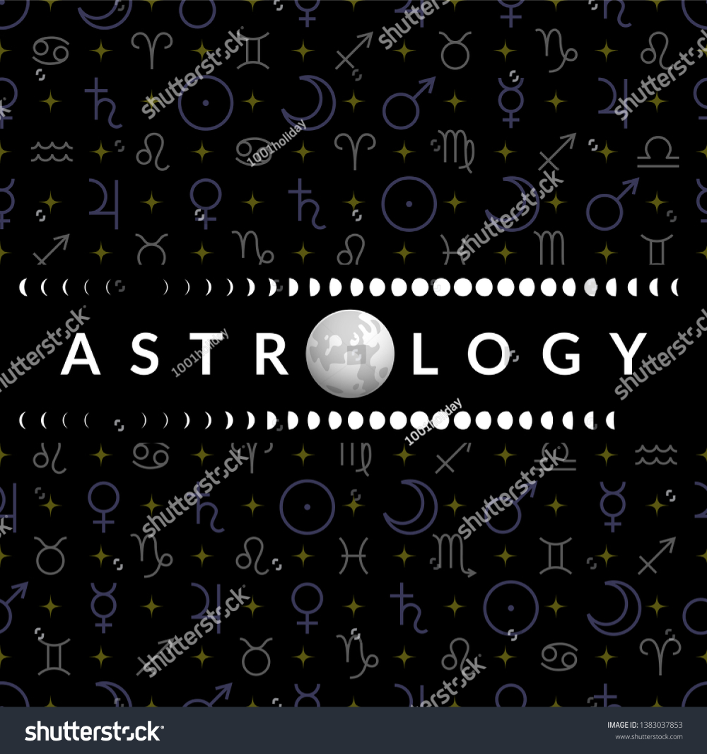 Astrological Temlplate Horoscope Moon Moon Phases Stock Vector Royalty Free 1383037853 In 2020 Moon Phases Planetary Symbols Stock Vector