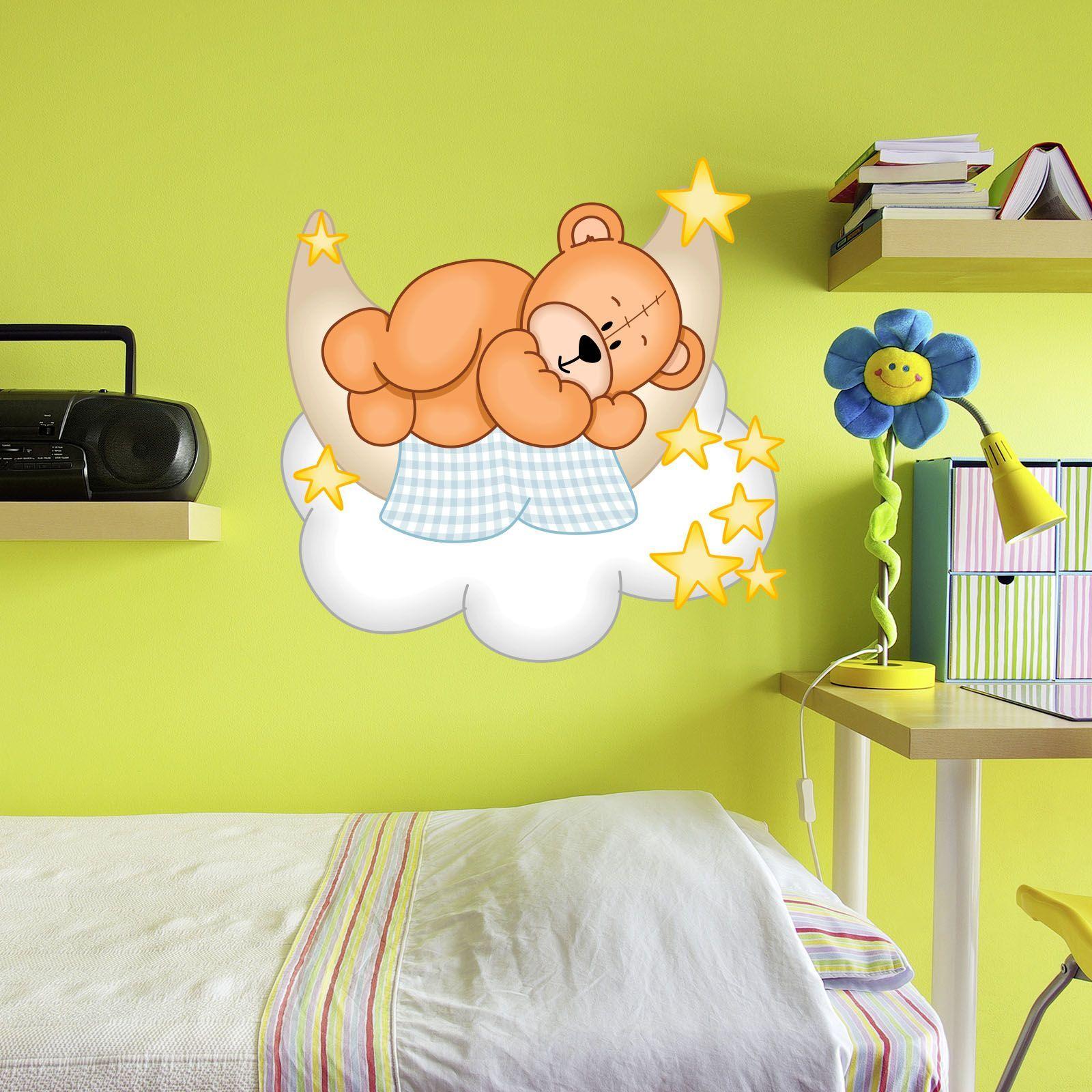 Xxl Wallprint Wandtattoo Teddy B R Mond Wolken Schlummerland Kinder Zimmer Kindersachen