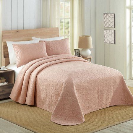 Better Homes and Gardens Solid Cotton Bedspread, Pink