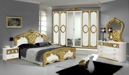 Schlafzimmer 6 Tlg Bett 180x200 Weiss Gold Italienische