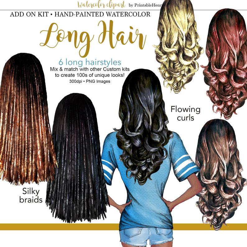 Long Hair Clipart Girls Hairstyles Best Friend Custom Portrait Etsy Long Hair Styles Hair Clipart Hair Styles