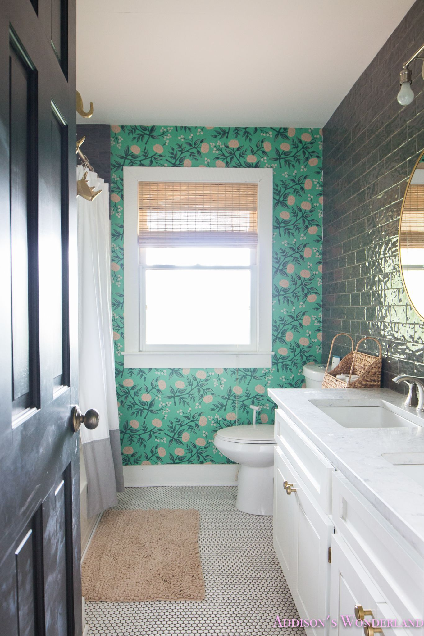 Our Green Poppies Wallpaper Cabin Guest Bathroom Reveal