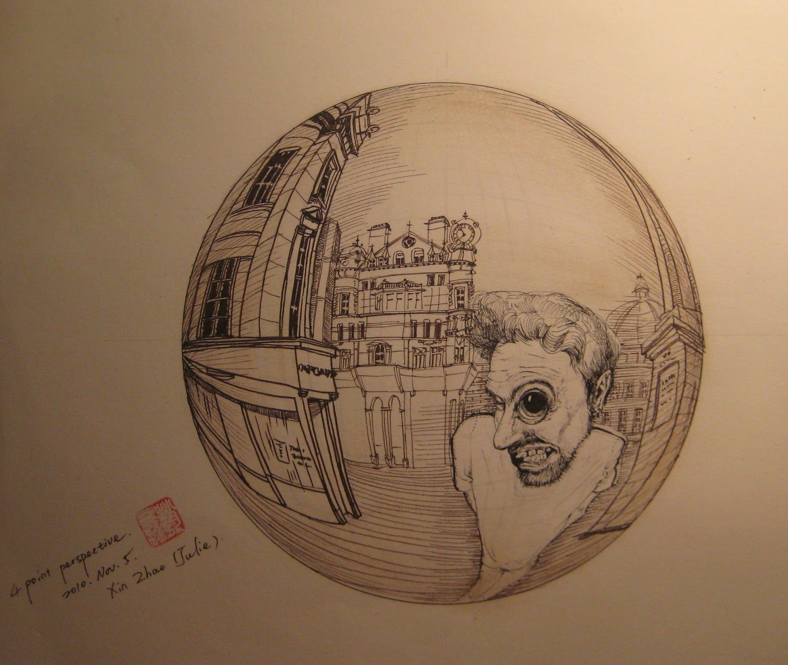 3 Point Perspective In A Sphere