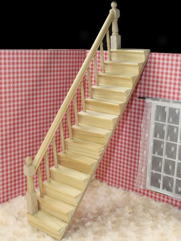 details zu doll house wooden staircase stairs w left fixed guard rail kit pre assembled diy