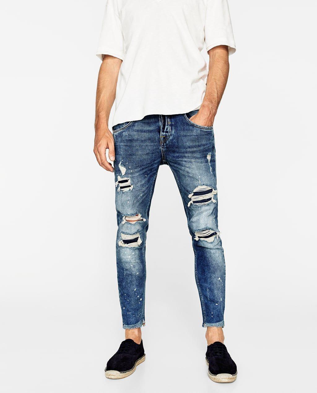 Pantalon Con Rotos Y Pliegues Zara Man Jeans Stylish Mens Outfits Mens Fashion Rugged