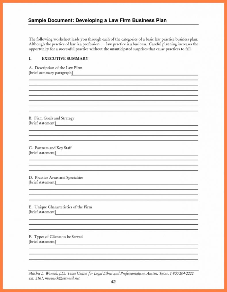 Business Plans Law Firm Plan Sample Solo Practice Template