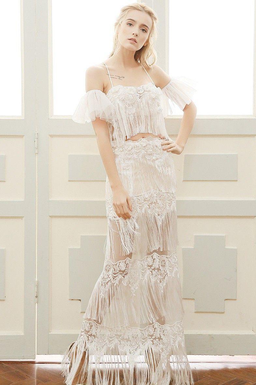 Sexy spaghetti strap lace fringe tiered boho two piece wedding dress