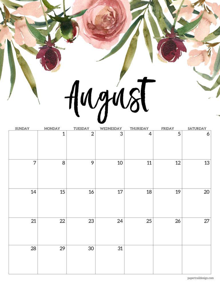 August Calendar 2022.Free 2022 Calendar Printable Floral Paper Trail Design In 2021 Calendar Printables Flower Calendar Calendar