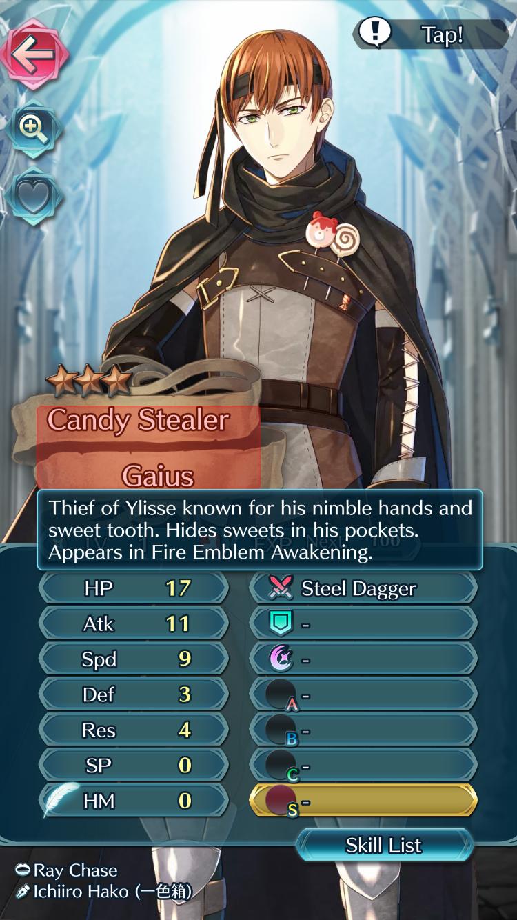 Thief Gaius Of Ylisse Fe Awakening In Fe Heroes Asalto Impulso Habilidades