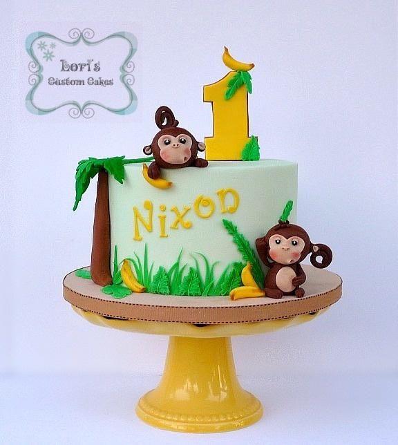 Monkeys 1st Birthday Cake By Lori Mahoney Loris Custom Cakes