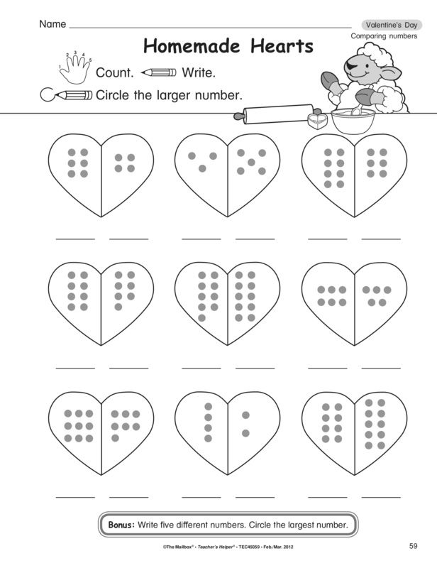 Valentine S Day Comparing Numbers Valentine Math Worksheet Math Valentines Math Worksheets