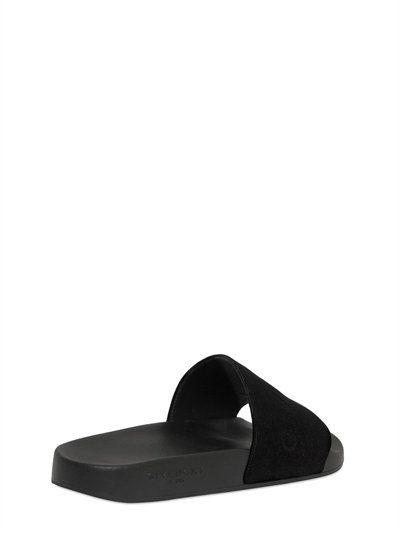 241a1493cb9 GIVENCHY Logo Velvet   Rubber Slide Sandals